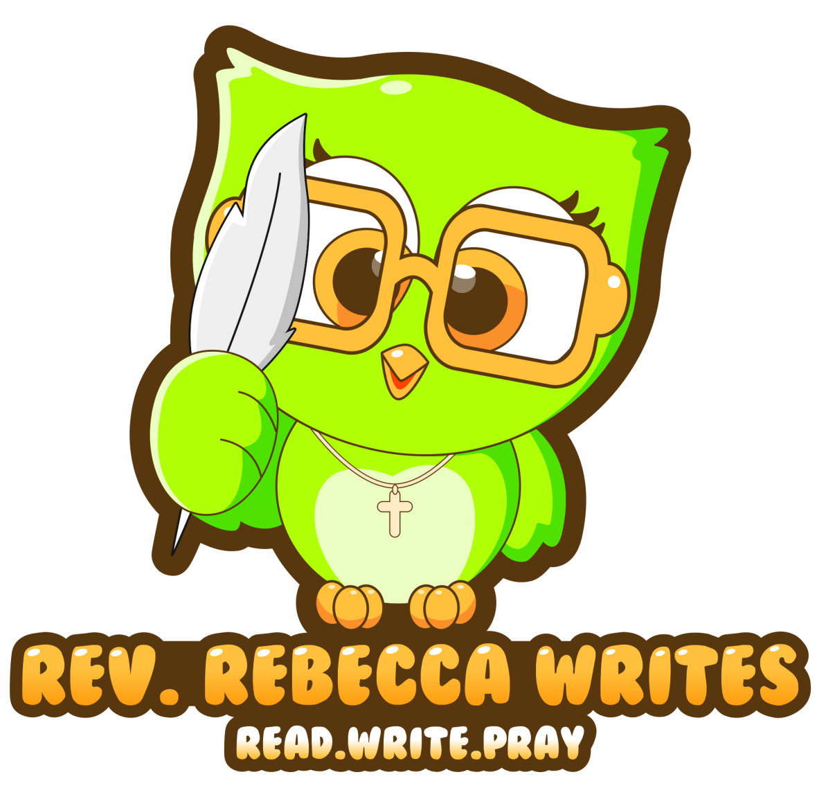 Logo is a small green owl that says Rev. Rebecca Writes