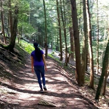 Walking near Thoreau's cabin at Walden pond