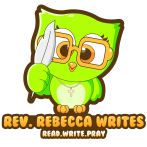 A green owl logo for Rev. Rebecca Writes