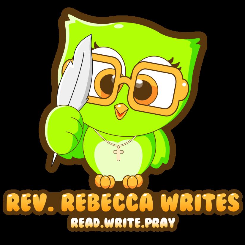 A green owl logo for Rev. Rebecca Writes