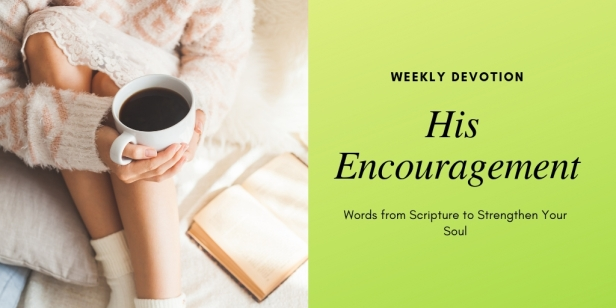 """Black words on a green background read, """"His Encouragement: Words from Scripture to Strengthen Your Soul"""""""