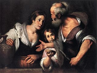 A painting by Strozzi of Elijah and the widow