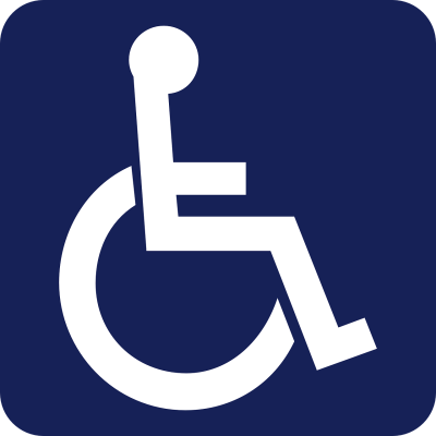 Stock image of an accessible sign showing a figure seated in a wheelchair