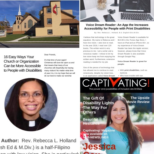 """A collage shows the articles, """"16 Easy Ways Your Church or Organization Can Be More Accessible,"""" and """"Voice Dream Reader: An App that Increases Accessibility for People with Print Disabilities."""" It also shows Rebecca's author photo and the January Cover of Captivating"""