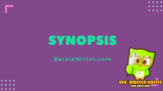 "Green words on a purple background read, ""Synopsis"""