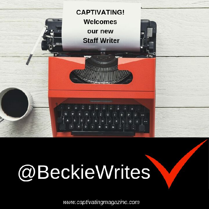 "A red type writer has a piece of paper in it that reads, ""CAPTIVATING! Welcomes our New Staff Writer"""