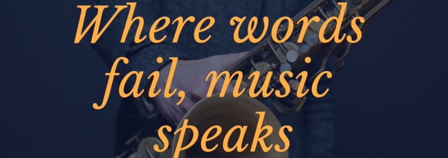 "An image reads, ""Where Words fail, music speaks,"" a quote by Hans Christian Andersen"