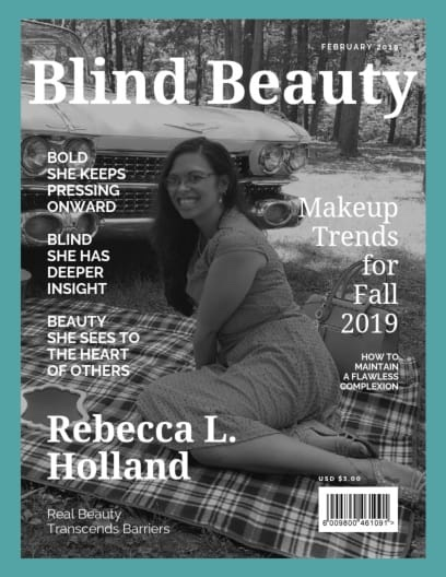 A cover for Bold Blind Beauty shows Rebecca in a black and white image seated in front of a classic car