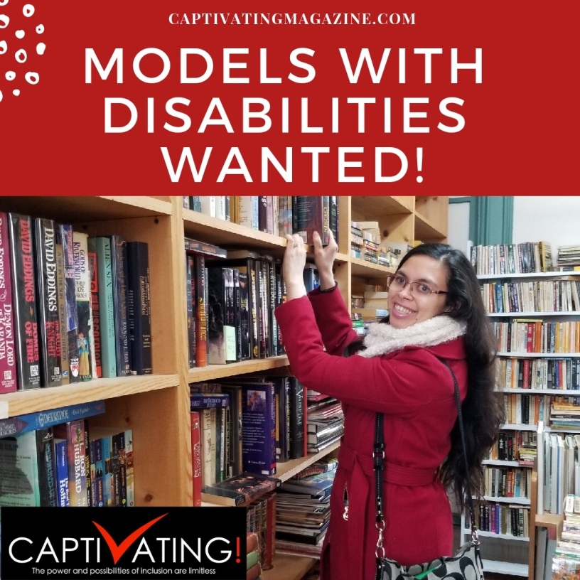 """White text on a red background reads, """"Models With Disabilities Wanted."""""""