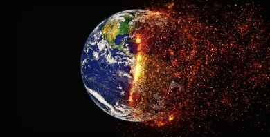 An image shows a world being consumed by fire