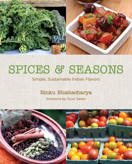 The cover of spices and seasons shows fresh produce in bright colors