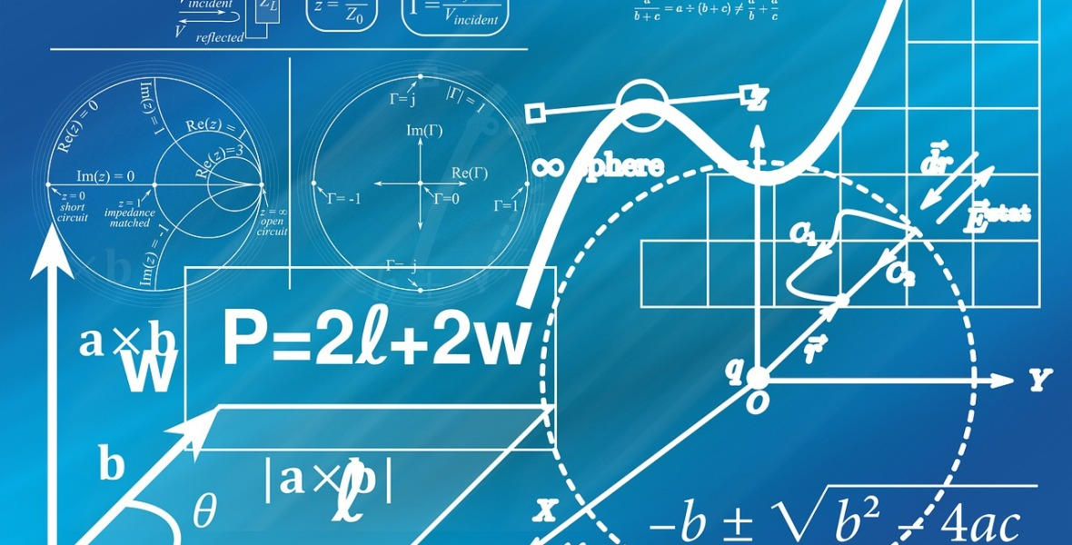 Image shows a blue background with geometric equations