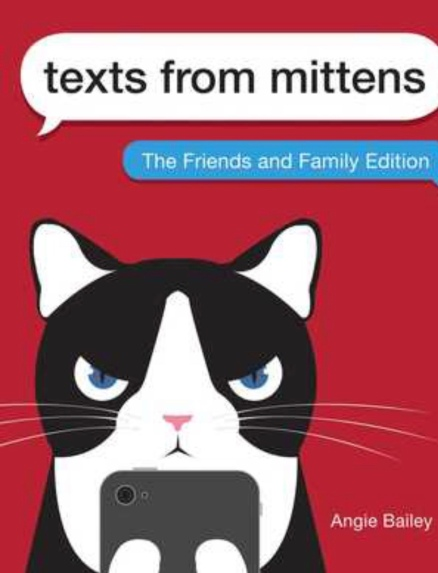 the book cover shows a cute black and white cat holding a cell phone