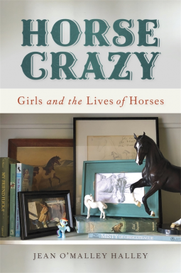 The cover for horse crazy shows a shelf with photos and figurines of horses