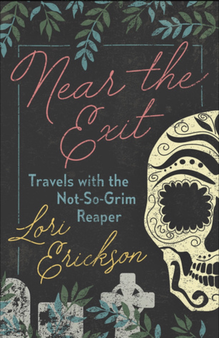 The cover of the book shows cursive writing and a sugar skull