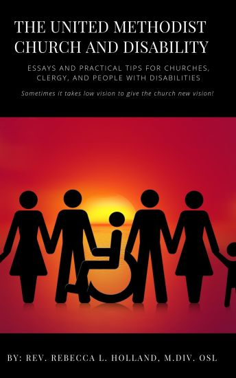 The cover of the book shows silhouettes of people wearing pants and dresses and a person in a wheelchari