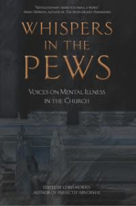 Cover image of whispers in the pews is dark with gold letters