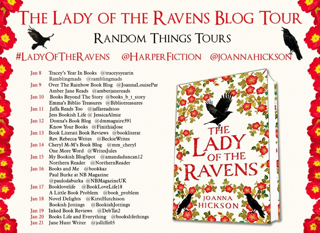 Banner for the blog tour shows a list of websites that will be featuring the book this week