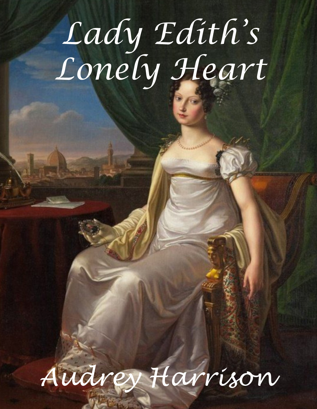 The book cover shows a woman in regency dress seated by a window