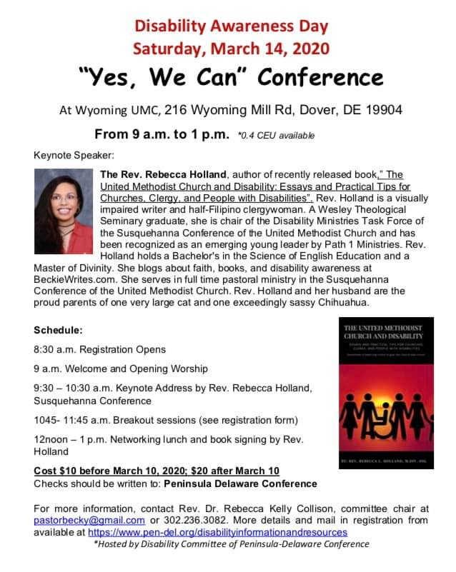 A screenshot of the flyer shows Rebecca's smiling face and the cover of her book