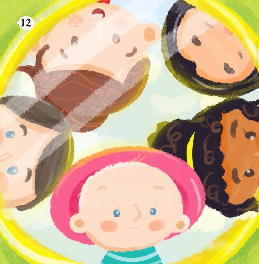 A colorful illustration from the book shows smiling children