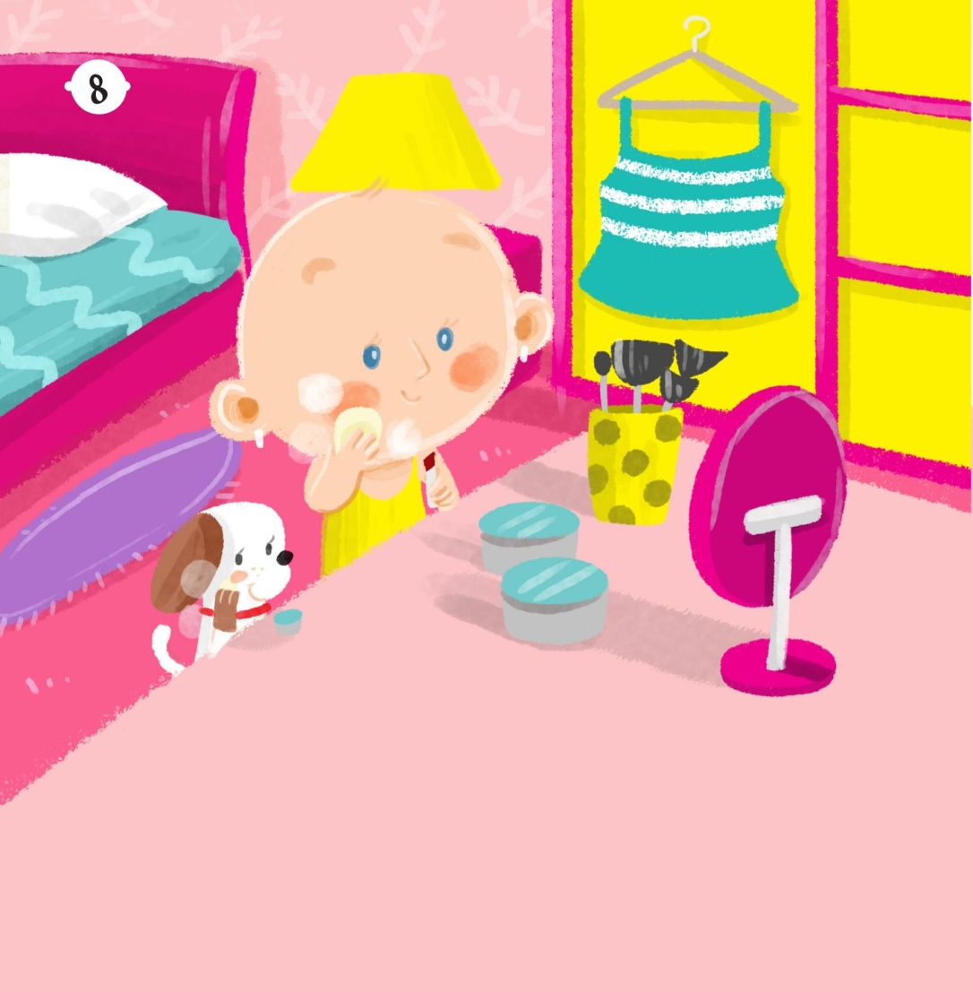 A colorful illustration shows a young girl without hair and her puppy primping in front of a mirror