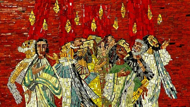 a mosaic showing flames dancing around the heads of the disciples