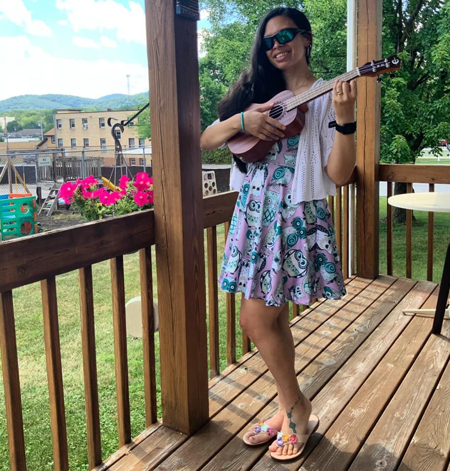 My favorite dress (it has owls on it) and my Ukulele!
