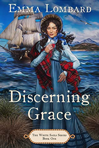 The cover of the book shows a sailing ship with white sails. A young woman in a blue dress stands in front of the ship and smiles.
