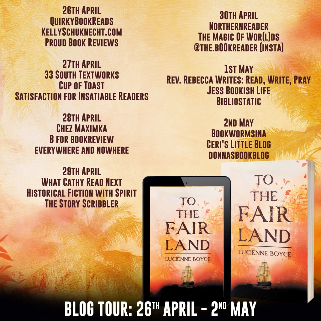 The cover of the book shows a ship and the title. this banner shows a list of other blogs participating in the blog tour