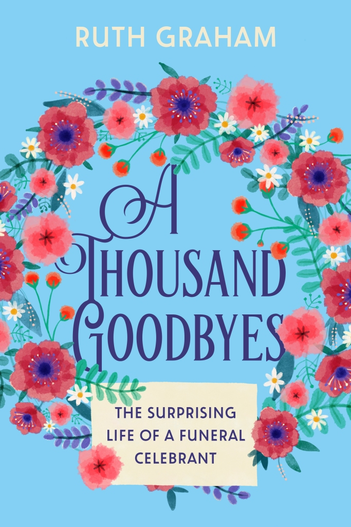 The cover of the book is turquoise with flowers